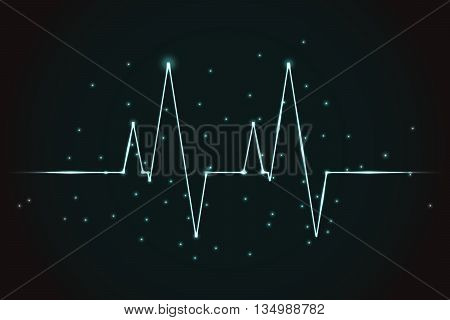 Plasma style EKG graph. Shiny Electro Cardio Gram with sparkles as neon lines. Shiny lines in form of EKG graph.