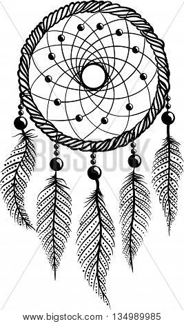 Drawing of a dreamcatcher with  feathers abd beads, in ethnic tribal stile,  black line art on white background