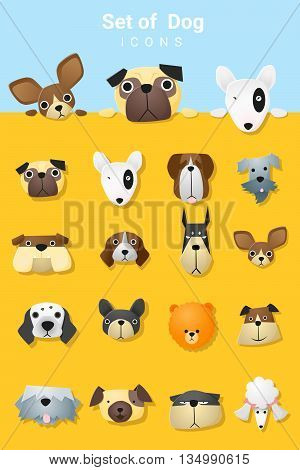 Set of cute dog icons , vector, illustration