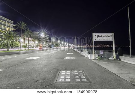 France, Nice, Cote d'Azur - Promenade Des Anglais in the night