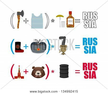 Russia Mathematician. Mathematical Formula Of Russian Life. Traditional Objects Of Country. Axe And