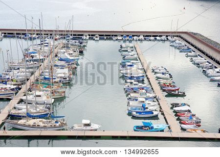 LA GOMERA, CANARY ISLANDS, 12 November 2015 - Harbour of San Sebastian de la Gomera, Spain, Europe