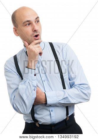 Surprised Bald Man Looking Sideways