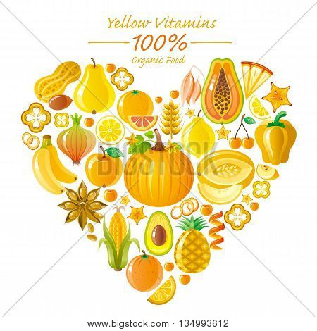 Vegetarian food icon set with organic fruits and vegetables on white background. Yellow and orange icons collection. Pumpkin, banana fruit, pineapple icon, melon, lemon fruit, corn vegetable