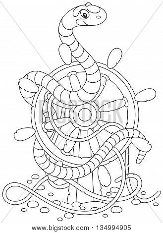 Black and white vector illustration of a striped sea serpent twisted around an old ship helm