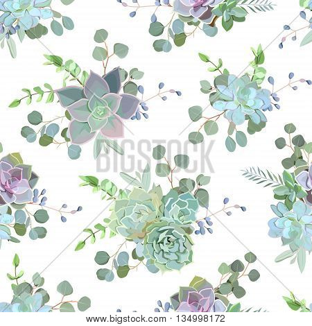 Green colorful succulent Echeveria seamless vector design print. Natural cactus print in modern funky style.