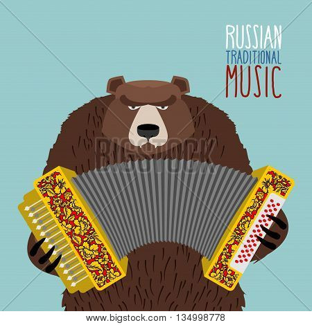 Bear Playing Accordion. Russian National Musical Instrument.