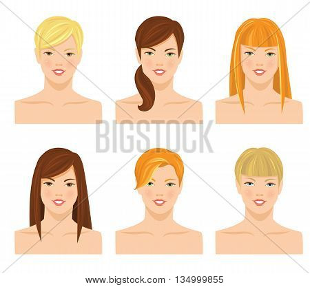 Vector illustrations of pretty young girls with various hair style with bangs isolated on white background. Different color of hair and eyes