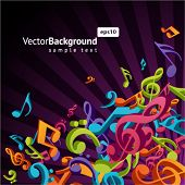 3d colorful music background with fly notes poster