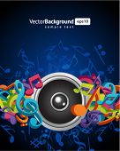 Speaker with fly 3d music notes vector background poster