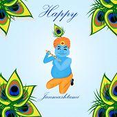 Lord Krishana in Happy Janmashtami in cartoon. Poster Janmashtami poster
