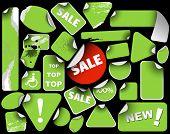 Set of green sale labels (grunge) poster