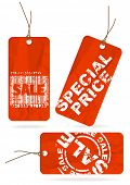 Set of red crumpled paper tags for sale, discount poster