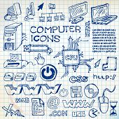 Set of hand-drawn computer icons  on checkered paper (vector) poster