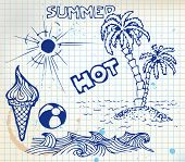 Summer doodle elements - sun, ocean, palm trees, ice cream, ball poster