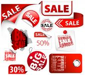 Set of red discount tickets, labels, stamps, stickers, corners, tags (vector) poster