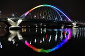 Lowry Avenue Bridge in Minneapolis lit in Rainbow Colors in Honor of Orlando Victims poster