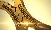 Corrective Maintenance Golden Cog Gears. Corrective Maintenance on Mechanism of Golden Gears. Golden Cogwheels with Corrective Maintenance Concept. 3D Render. poster