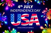 Fireworks background for 4th of July Independense Day. Fourth of July Independence Day card. Independence day fireworks. Independence day celebrate. Independence Day festive. USA Independence Day art poster
