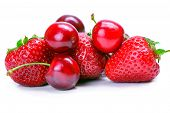 Strawberries and cherry isolated on white background poster