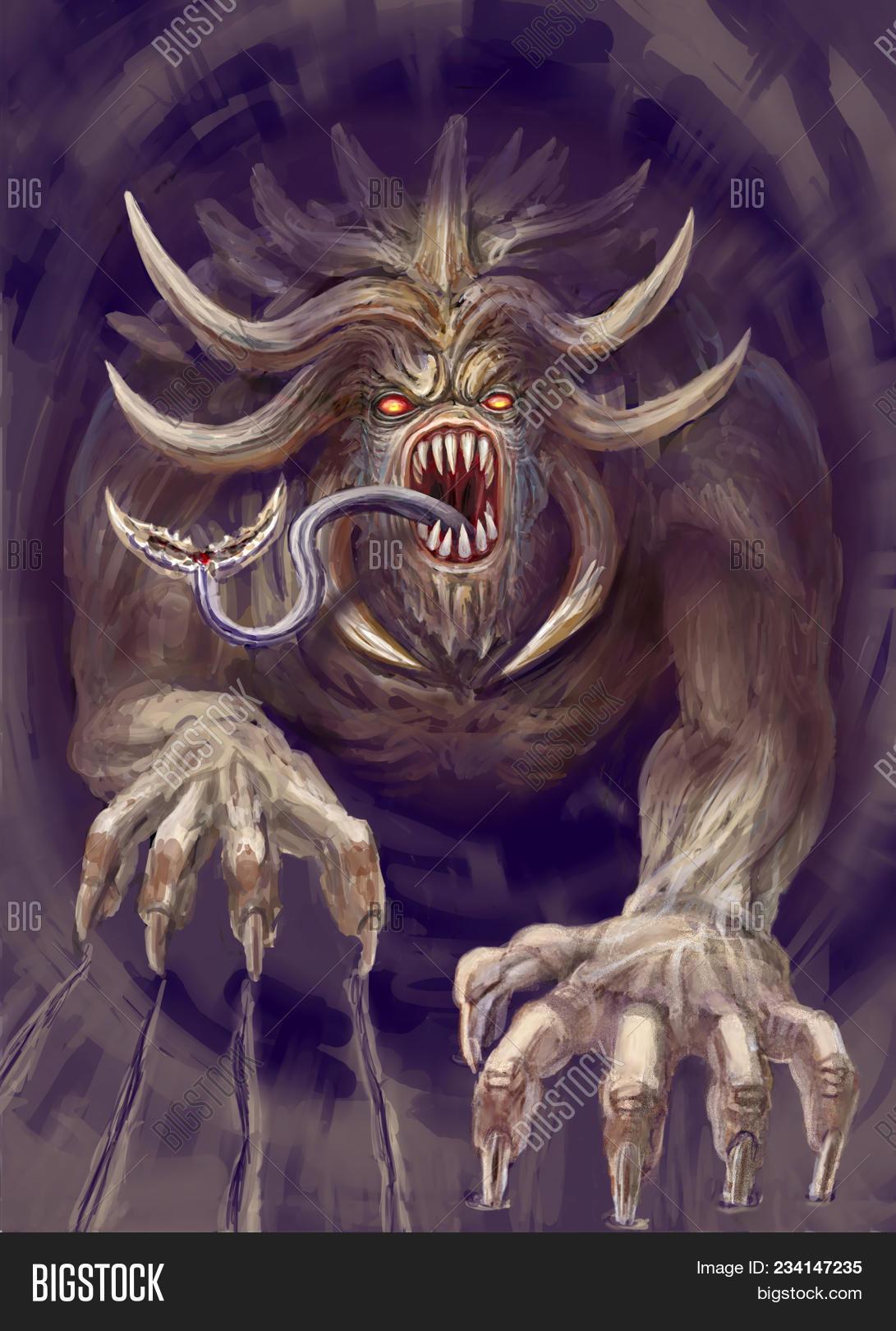 Huge Monster Horns Image Photo Free Trial Bigstock