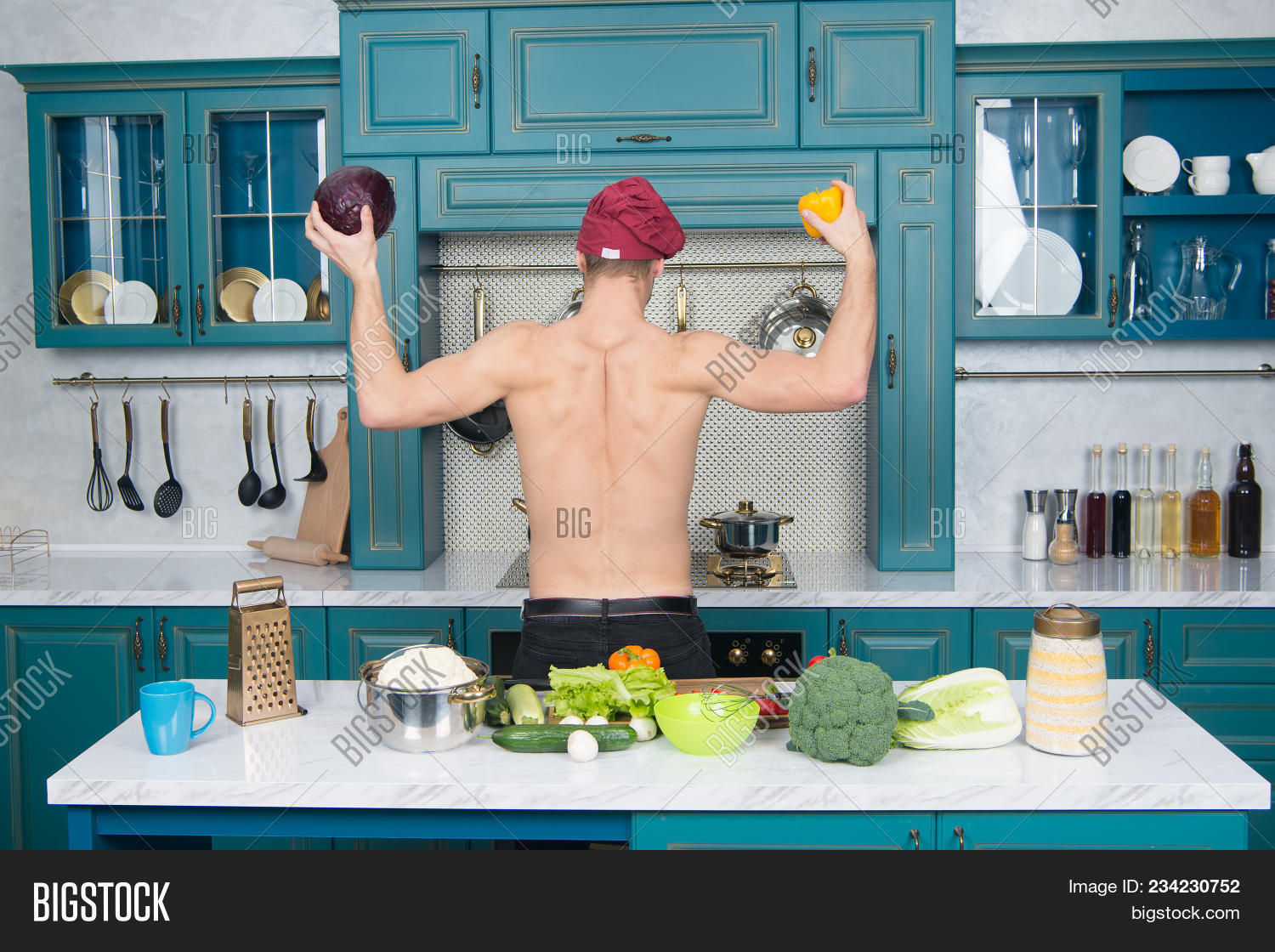 Man Chef Hat Muscular Torso Kitchen Image & Photo | Bigstock