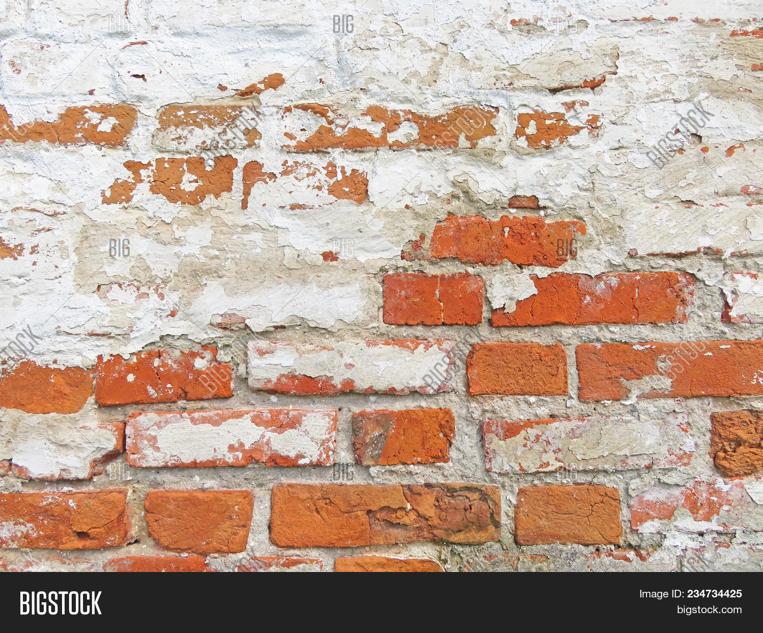 Old Wall Of Red Bricks And White Brayed Ed Paint Terracotta Brick Background