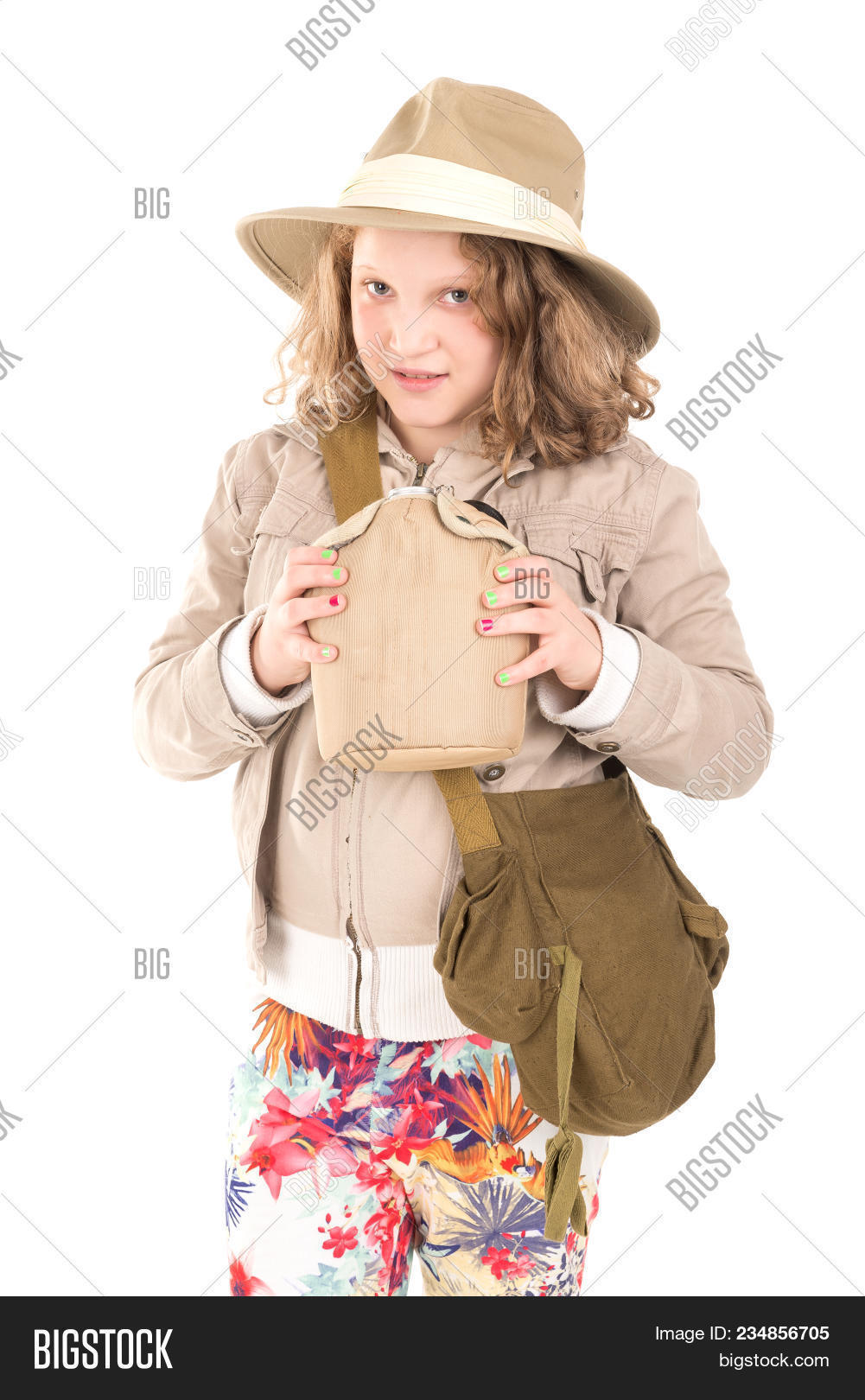 3d778a59d1fc1 Young girl with a camera playing Safari isolated in white