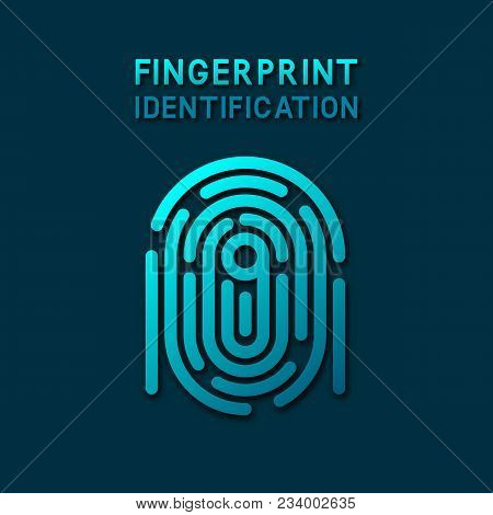 Blue Fingerprint Identification Symbol. Vector Illustration - Eps 10