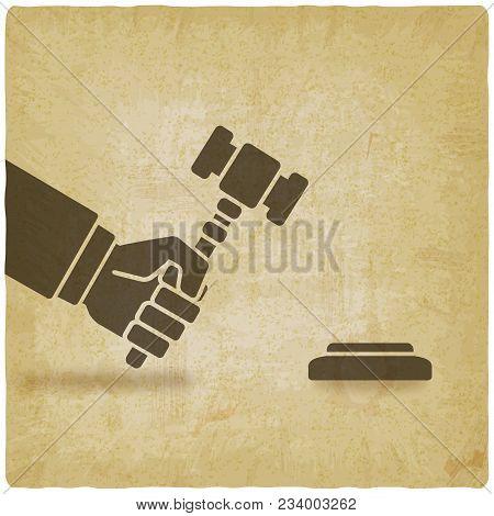 Hand With Auction Hammer Or Judge Gavel Vintage Background. Vector Illustration - Eps 10