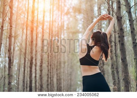 Asia Woman Sporty Resting Relax Muscles In The Forest After Runner Cardio Exercise Workout, Female H