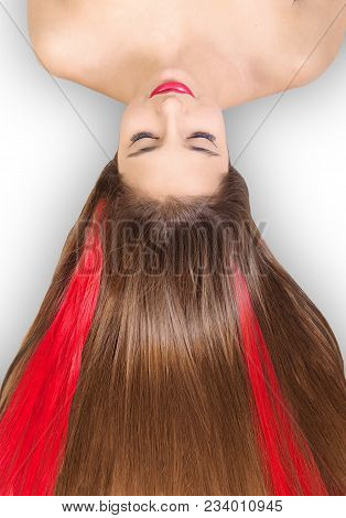 Beautiful Long Hair. Beauty Girl With Straight Broun Hair With Red Strands Of Hair On White Backgrou