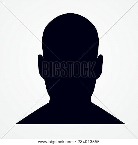 Silhouette Of A Man S Headisolated. Front Shot. Vector Illustration. Isolated On White Background.