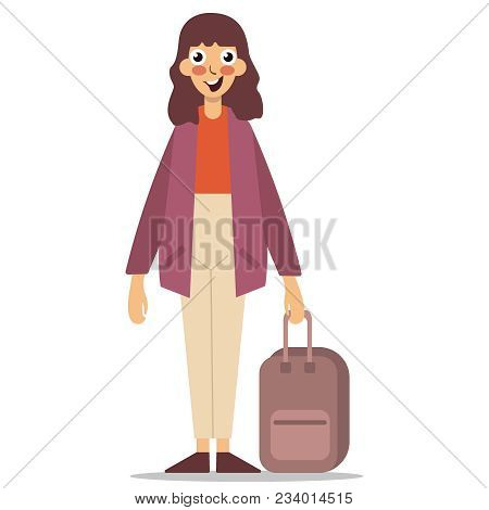 The Girl Is Traveling With A Suitcase. Model Is Looking At The Camera And Smiling. Woman With A Suit