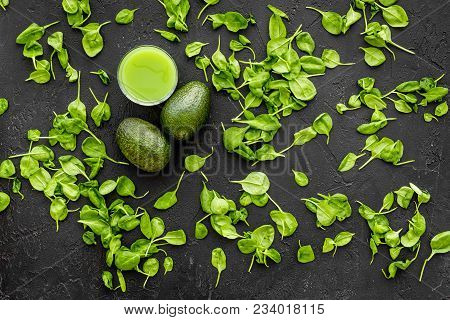 Avocado, Celeriac. Vegetables For Greeny Organic Smoothy For Sport Diet On Dark Table Background Top