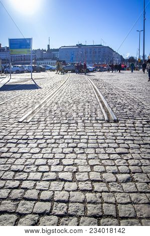 Cobbled Road With Beginning Of Rails - Beginning / End Of Road, Sunny Afternoon In Helsinki, Finland