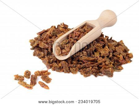 Propolis Granules In A Wooden Shovel Are Isolated On A White Background. Bee Glue. Bee Products. Api