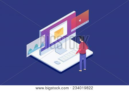 Man Standing Looks At Lcd Monitor. Data Analysis, Checking Email, Watching Video Files.digital Techn