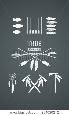 Set Of American Indian Tribal Symbols. Native American Cultural Symbolic Objects And Traditional Wea