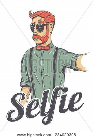 Young Redhead Man Making A Selfie Vector Illustration. Chic Hipster In Sunglasses, Bow Tie, He Has M