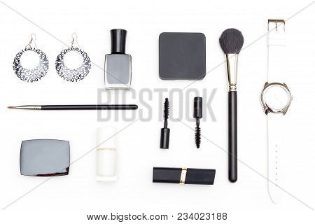 Female Cosmetics And Accessories Are Black And White On A White Background. Geometric