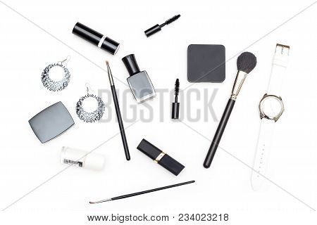 Female Cosmetics And Accessories Are Black And White On A White Background. Flat Lay