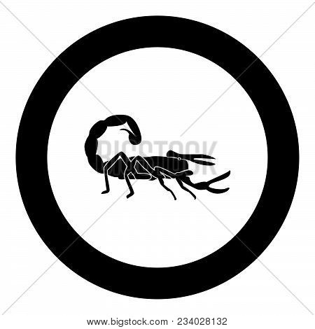 Scorpion Icon Black Color In Circle Vector Illustration Isolated