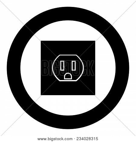Socket Icon Black Color In Circle Vector Illustration Isolated