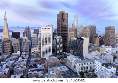 San Francisco Financial District View From Above. Aerial View Of San Francisco Financial District As