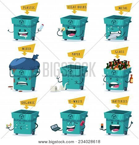 Sorting, Recycling And Waste Disposal And Trash. Vector Cartoon Character Set Of A Cute And Funny Ga