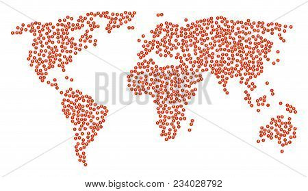 Geographic Collage Map Combined Of Electricity Pictograms. Vector Electricity Scattered Flat Pictogr