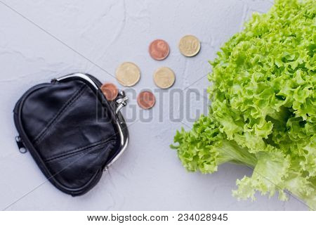 Fresh Organic Lettuce And Coins. Close Up Fresh Lettuce Salad And Black Pouch With Money, Focus On L
