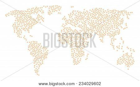 Continental Mosaic Map Composed Of Expanse Items. Vector Expanse Scatter Flat Icons Are United Into