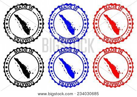 Made In Sumatra - Rubber Stamp - Vector, Sumatra Map Pattern - Black, Blue And Red